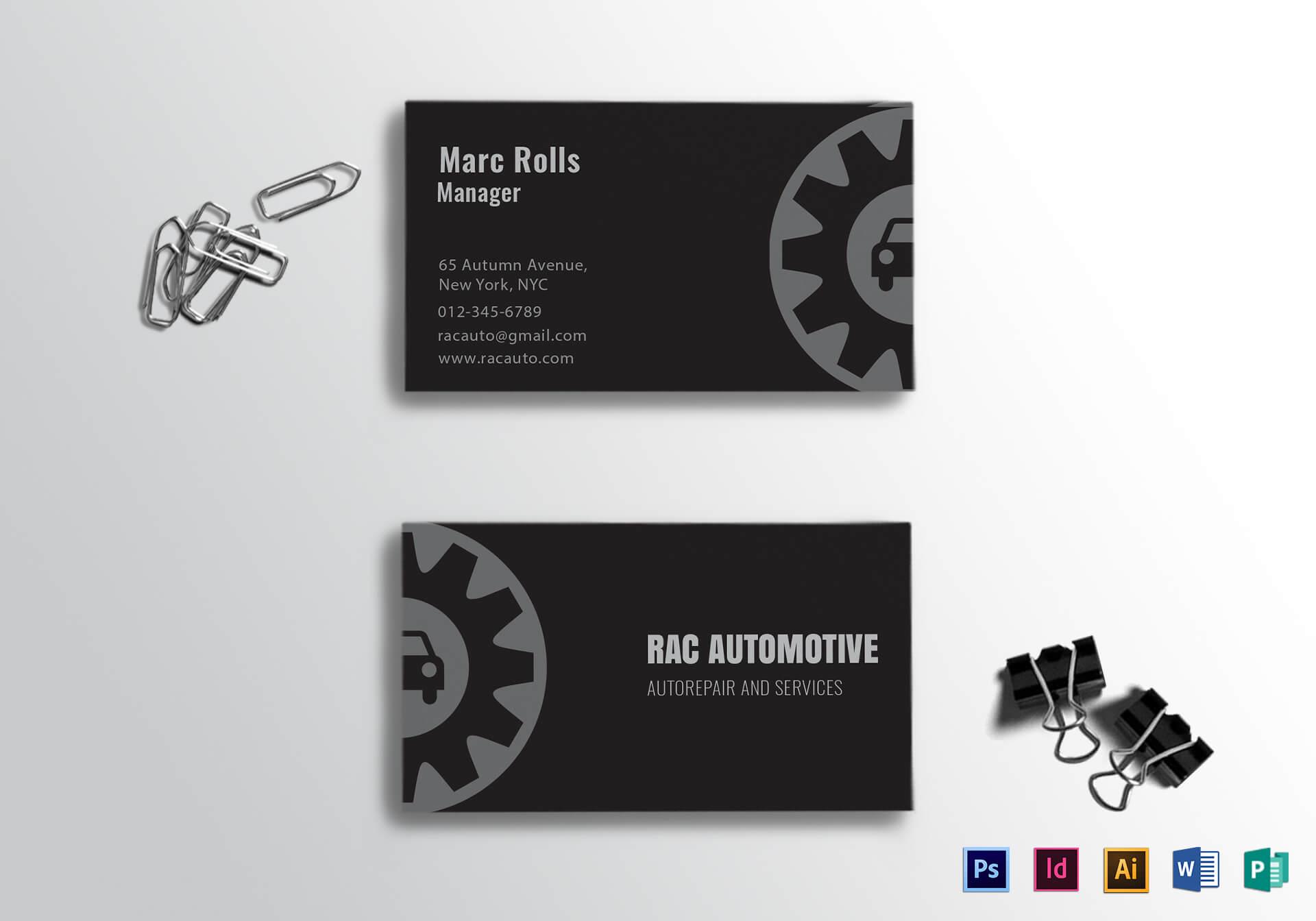 Automotive Business Card Template Pertaining To Automotive Business Card Templates
