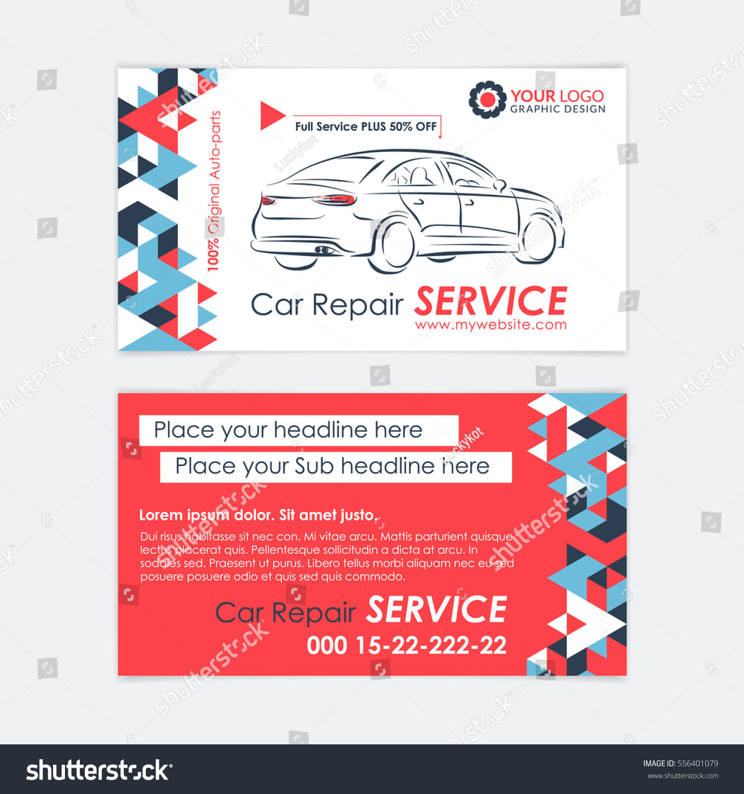 Automotive Service Business Card Template Car Stock Vector In Automotive Business Card Templates