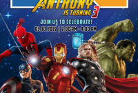 Avengers Invitation Birthday Template | Dioskouri Designs within Avengers Birthday Card Template