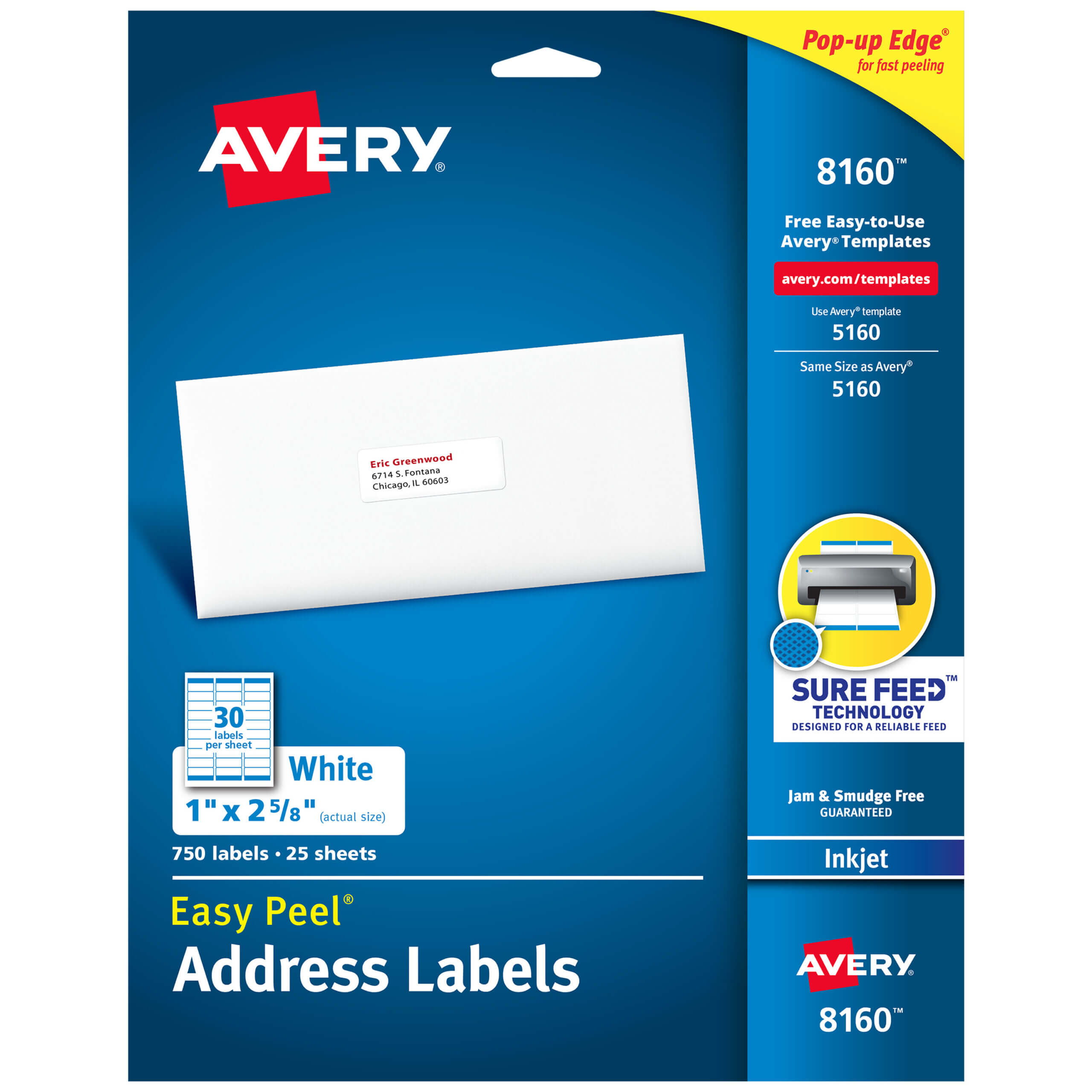 "Avery Easy Peel Address Labels, 1"" X 2 5/8"", 750 Labels (8160) - Walmart Pertaining To 1 X 2 5 8 Label Template"