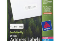 "Avery® Ecofriendly Address Labels, Permanent Adhesive, 1"" X inside 1 X 2 5 8 Label Template"