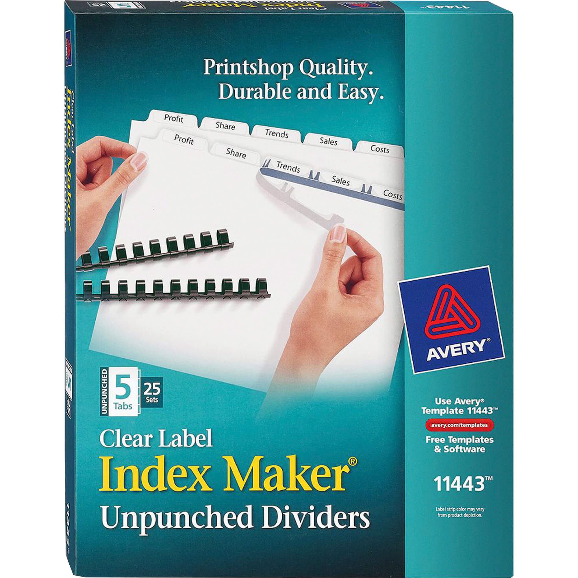 Avery® Index Maker Print & Apply Clear Label Dividers With In 5 Tab Label Template