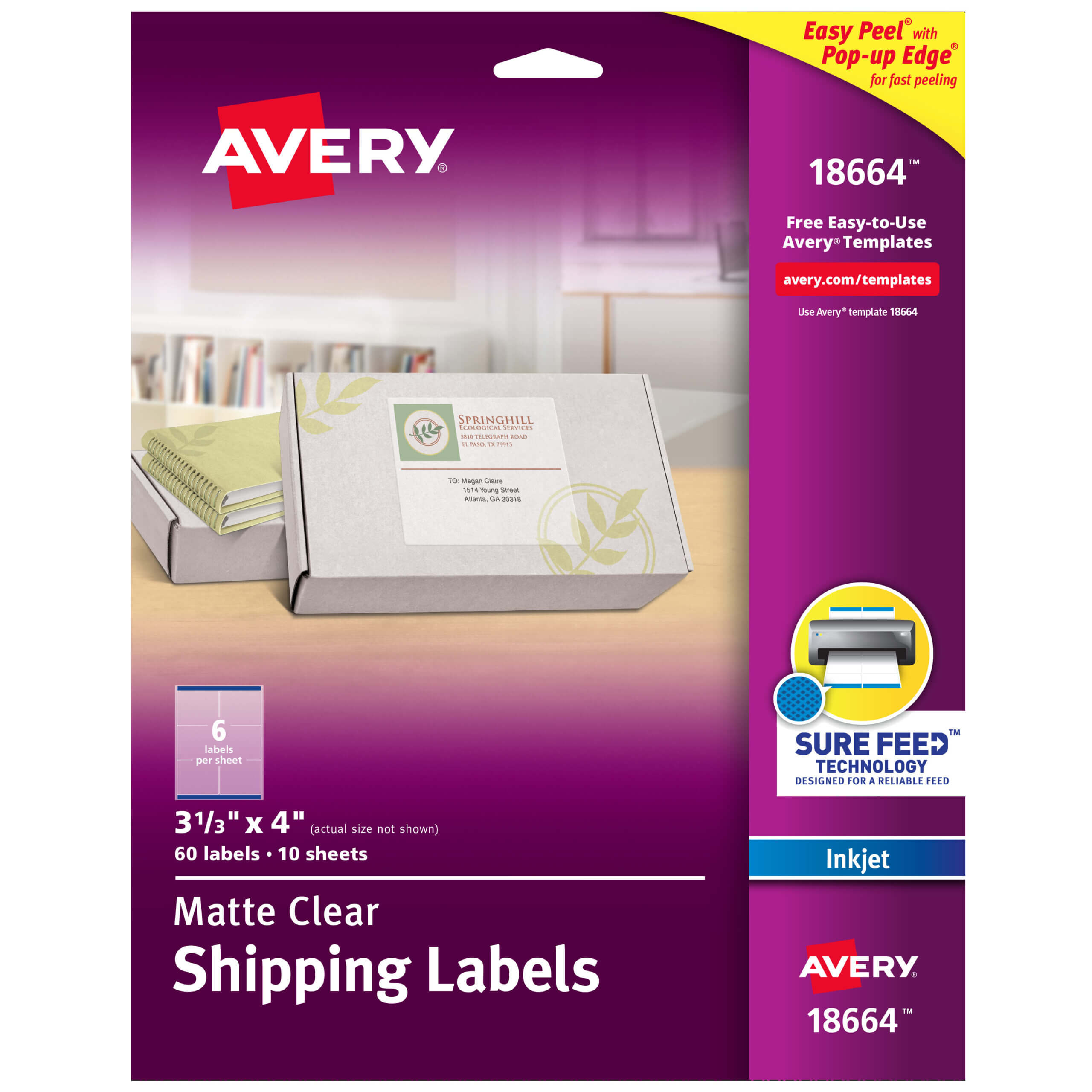 "Avery Matte Clear Shipping Labels, Sure Feed Technology, Inkjet, 3 1/3"" X  4"", 60 Labels (18664) – Walmart With 3 Labels Per Sheet Template"
