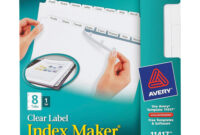 Avery® Print & Apply Clear Label Dividers, Index Maker(R with 8 Tab Divider Template
