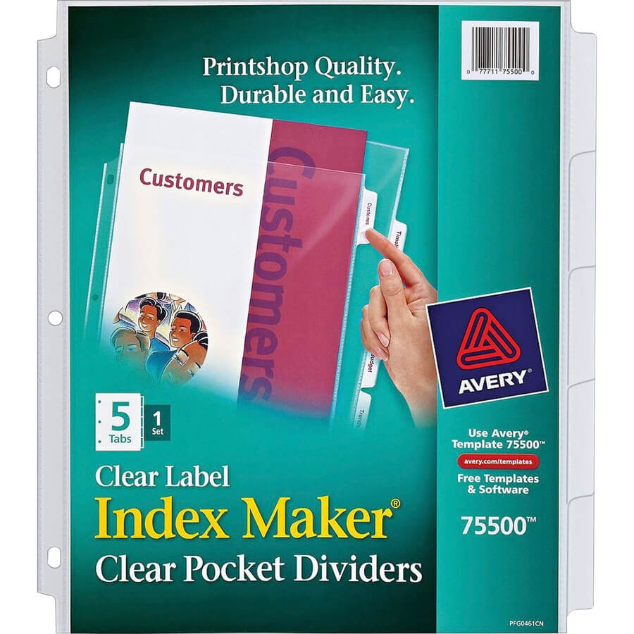 Avery® Print & Apply Clear Label Sheet Protector Dividers Within 5 Tab Label Template