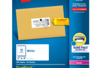 "Avery Shipping Labels, Sure Feed, 2"" X 4"", 250 Labels (5263) – Walmart within 2X4 Label Template"