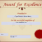 Award For Excellence Certificate | Templates At Within Award Of Excellence Certificate Template