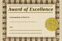 Award Of Excellence Certificate Template Sample Templates with Award Of Excellence Certificate Template