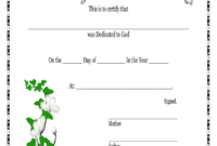 Baby Dedication Certificate – Fill Online, Printable in Baby Christening Certificate Template