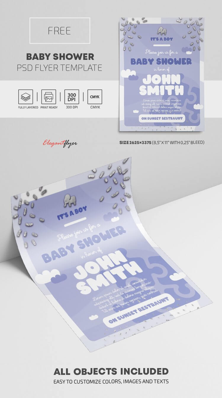Baby Shower – Free Psd Flyer Template –Elegantflyer Pertaining To Baby Shower Flyer Templates Free
