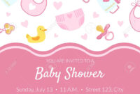 Baby Shower Invitation Banner Template, Pink Card With Newborn.. pertaining to Baby Shower Banner Template