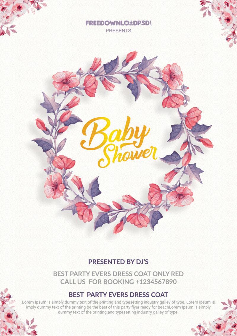 Baby Shower Invitation Flyer Templates – Psdflyer.co In Baby Shower Flyer Templates Free