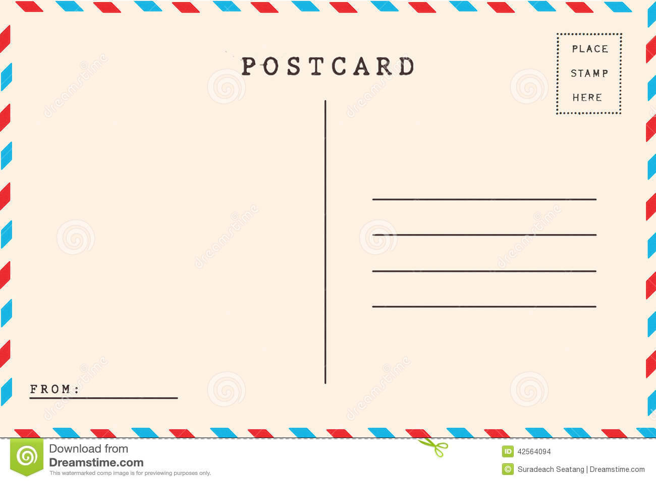Back Of Airmail Stock Illustration. Illustration Of Brown With Regard To Airmail Postcard Template