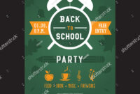 Back School Party Invitation Card Vector Stock Vector inside Back To School Party Flyer Template