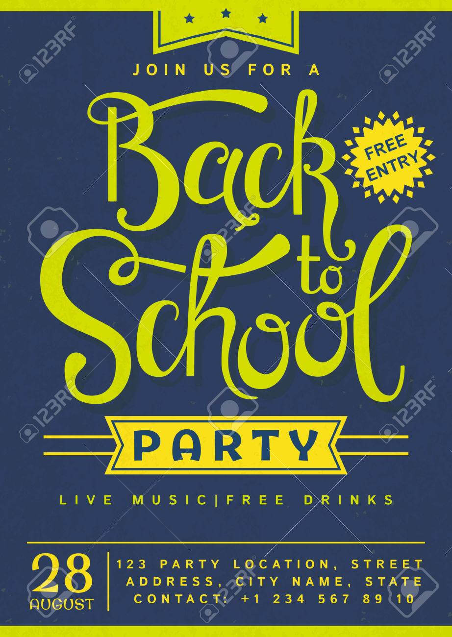 Back To School Party Invitation. Flyer With Hand Lettering Header In Back To School Party Flyer Template