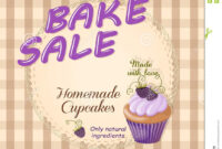 Bake Sale Promotion Flyer With Violet Cupcake Stock Vector within Bake Sale Flyer Free Template