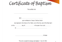 Baptism Certificate – 4 Free Templates In Pdf, Word, Excel in Christian Baptism Certificate Template