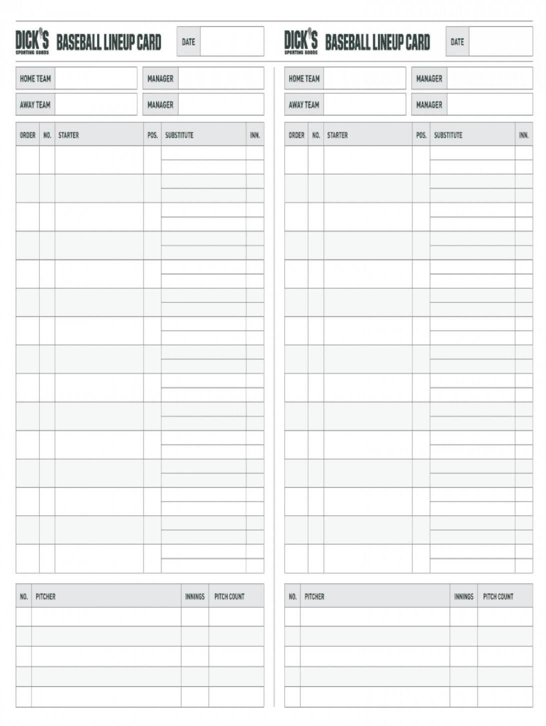 Baseball Lineup Template Card Printable Excel Free Fillable Inside Baseball Lineup Card Template