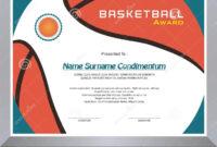 Basketball Award, Diploma Template Design Stock Vector regarding Basketball Certificate Template