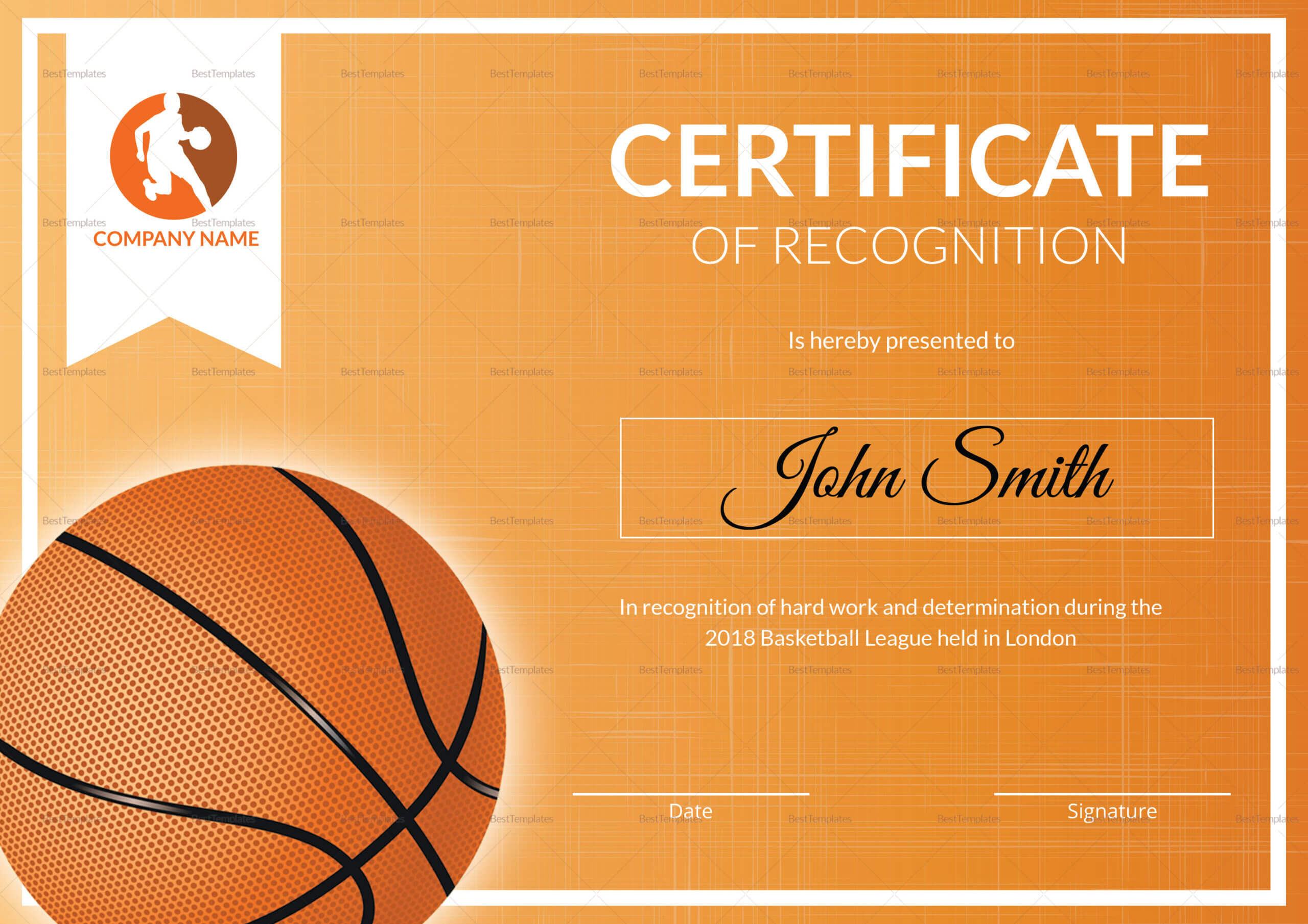 Basketball Recognition Certificate Template With Regard To Basketball Certificate Template