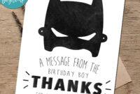 Batman Birthday Thank You Card – Superhero Thank You Card Printab intended for Batman Birthday Card Template