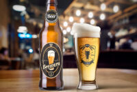 Beer Bottle And Glass Mockup Free Psd   Psdfreebies for Beer Label Template Psd