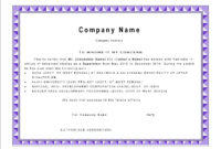 Best Work Experience Certificate Letter Template With Purple with Certificate Of Experience Template