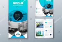 Bi Fold Brochure Design Blue Business Stock Vector (Royalty intended for 2 Fold Flyer Template
