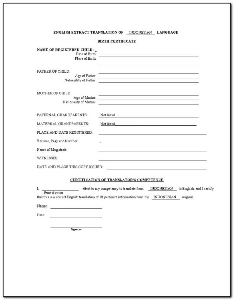 Birth Certificate Translation Form For Uscis - Form : Resume With Regard To Birth Certificate Translation Template Uscis