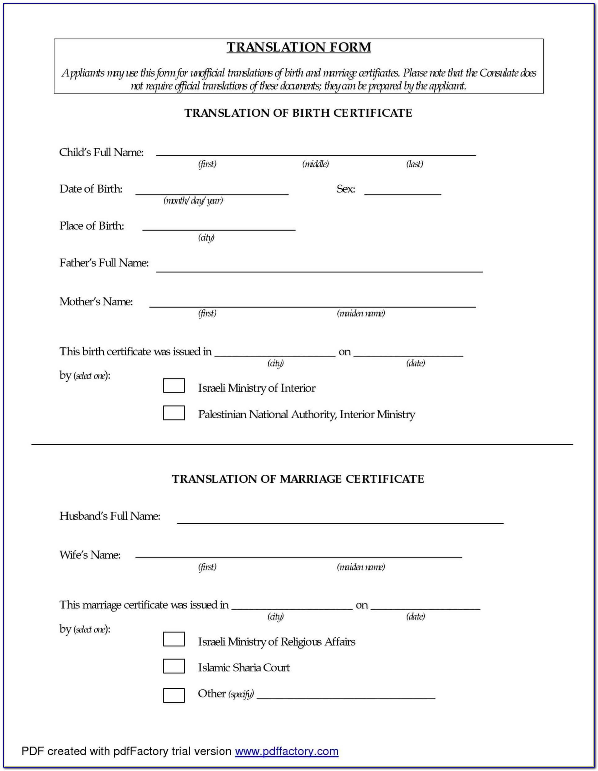 Birth Certificate Translation Form Sri Lanka – Form : Resume In Birth Certificate Translation Template Uscis