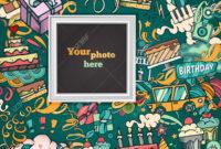 Birthday Background. Collage Photo Frame Card. Album Template.. in Birthday Card Collage Template
