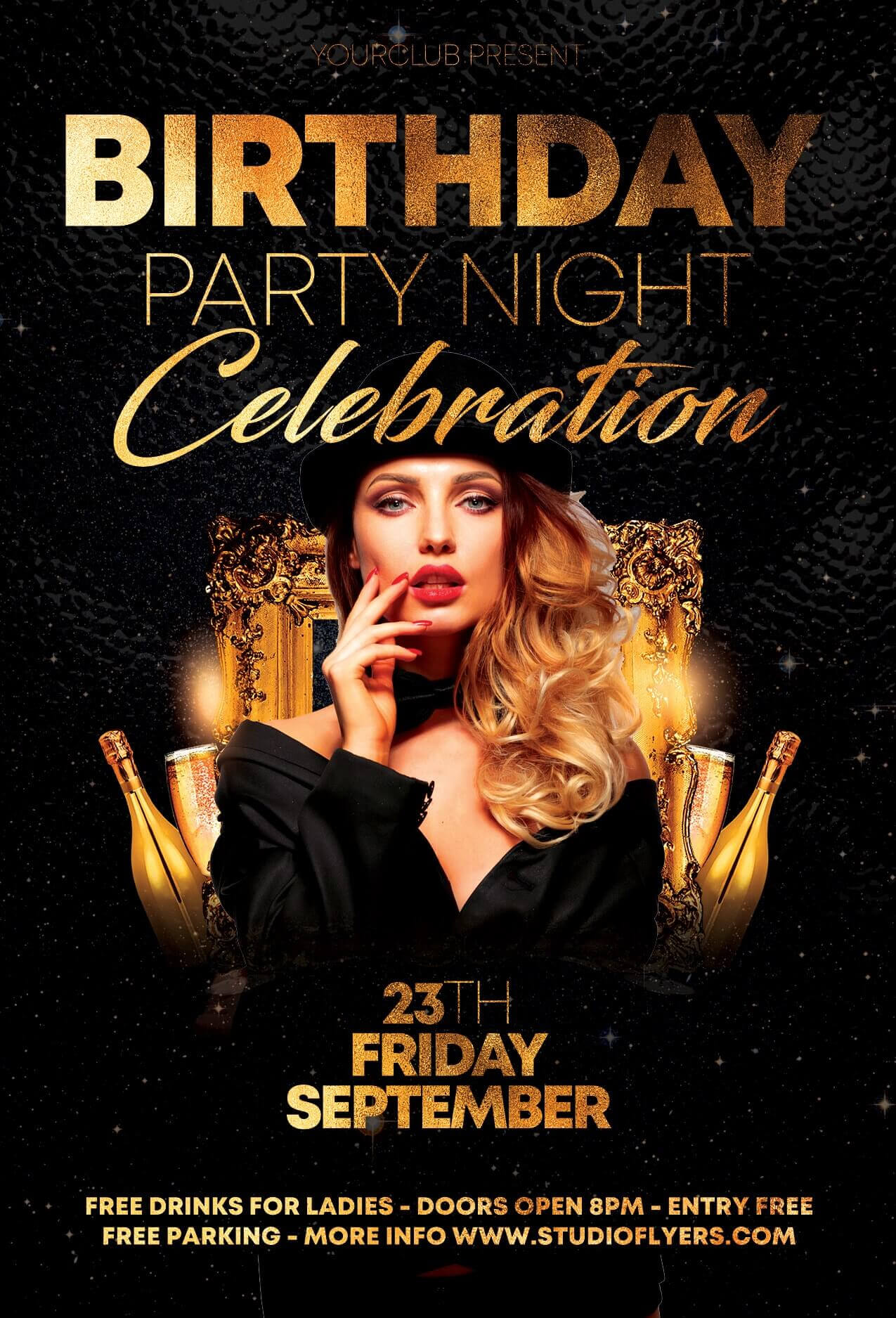 Birthday Party Night Free Psd Flyer Template - Free Psd Within Birthday Party Flyer Templates Free