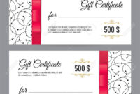 Black And White Gift Voucher Template With Floral Pattern And.. within Black And White Gift Certificate Template Free
