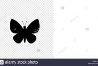 Black Silhouette Of Butterfly Isolated On Transparent for Butterfly Labels Templates