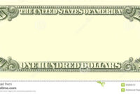 Blank 100 Dollar Bill Reverse Side Stock Illustration with Bank Note Template
