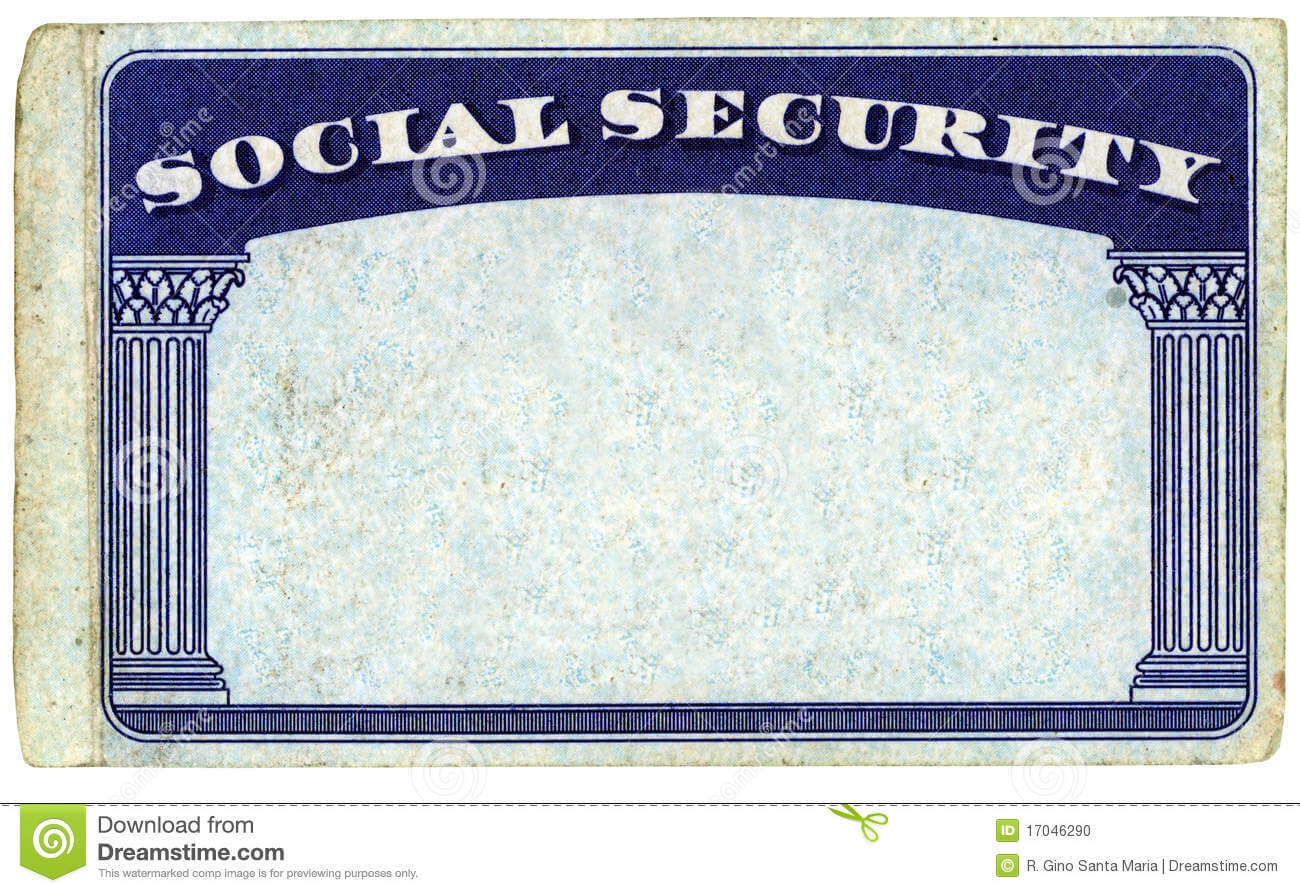 Blank American Social Security Card Stock Photo - Image Of With Regard To Blank Social Security Card Template Download