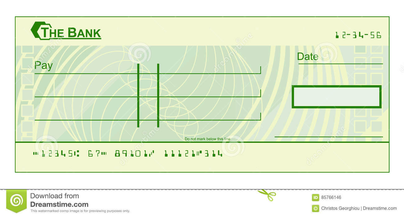 Blank Cheque Stock Vector. Illustration Of Document, Cheque Regarding Blank Cheque Template Download Free