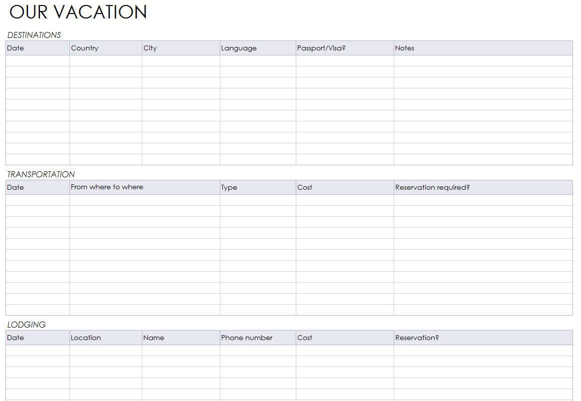 Blank Itinerary Templates – Word Excel Samples Throughout Blank Trip Itinerary Template