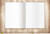 Blank Magazine On Wooden Background. Template Stock intended for Blank Magazine Spread Template