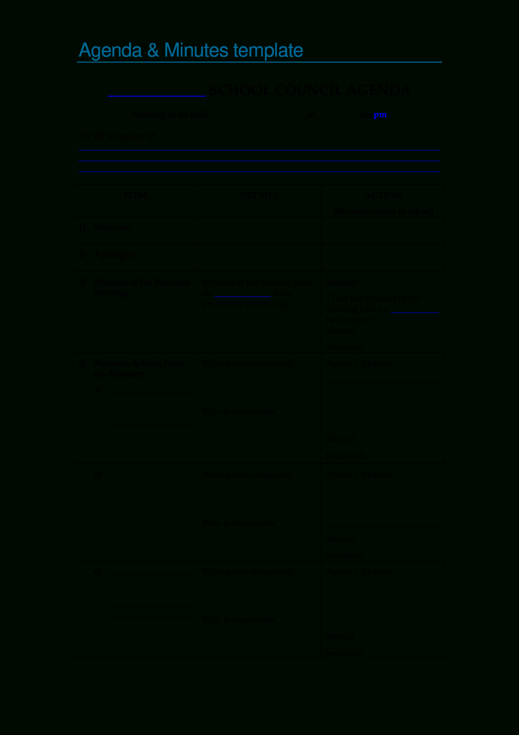 Blank Meeting | Templates At Allbusinesstemplates With Blank Meeting Agenda Template