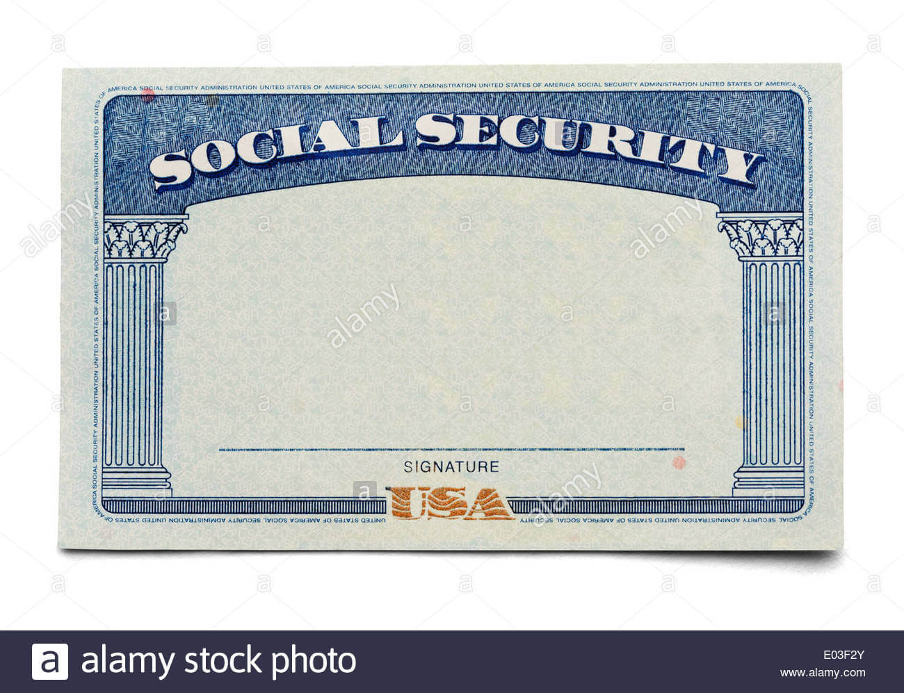Blank Social Security Card Isolated On A White Background With Regard To Blank Social Security Card Template