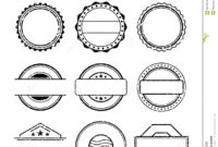 Blank Stamp Set, Ink Rubber Seal Texture Effect Stock Vector for Blank Seal Template