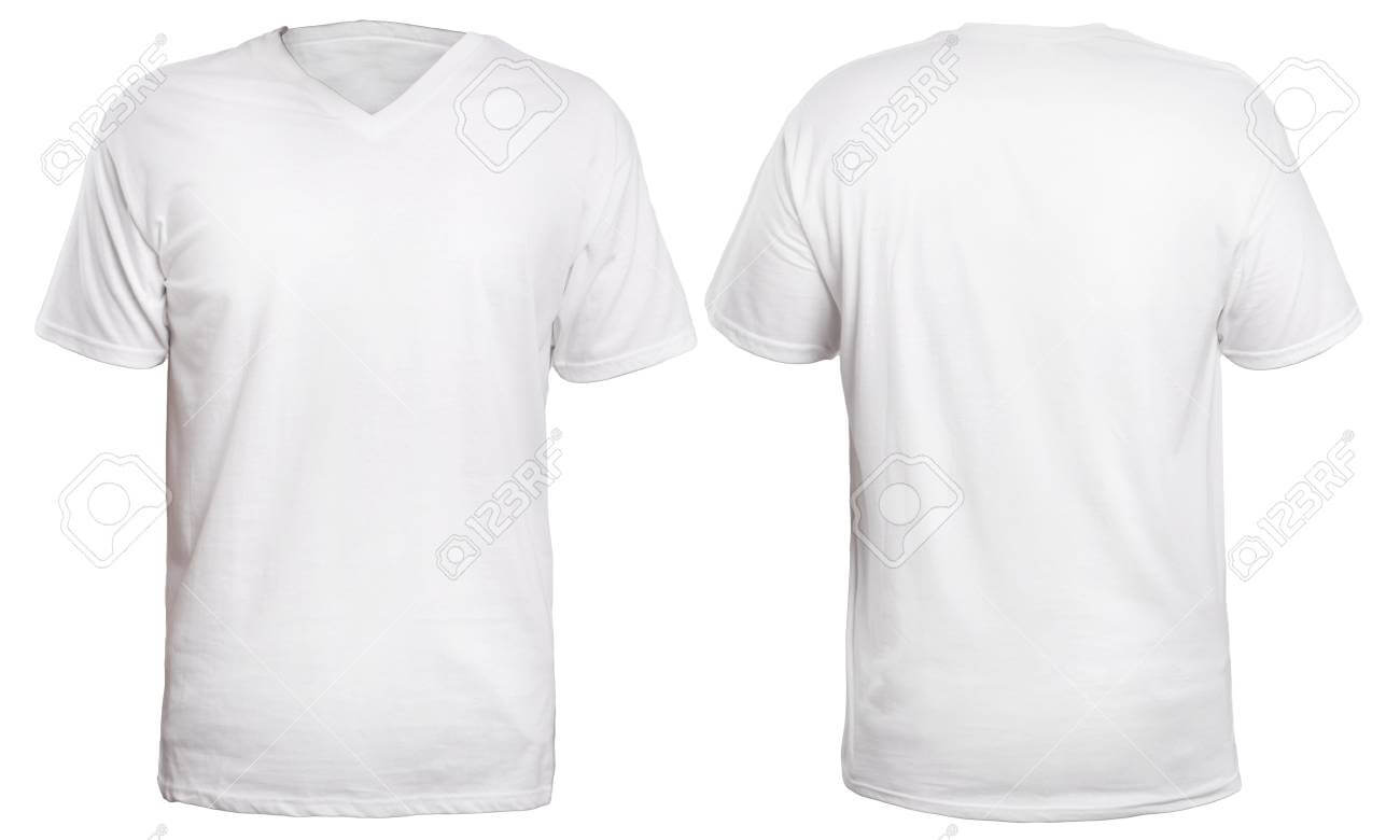 Blank V Neck Shirt Mock Up Template, Front And Back View, Isolated.. With Regard To Blank V Neck T Shirt Template