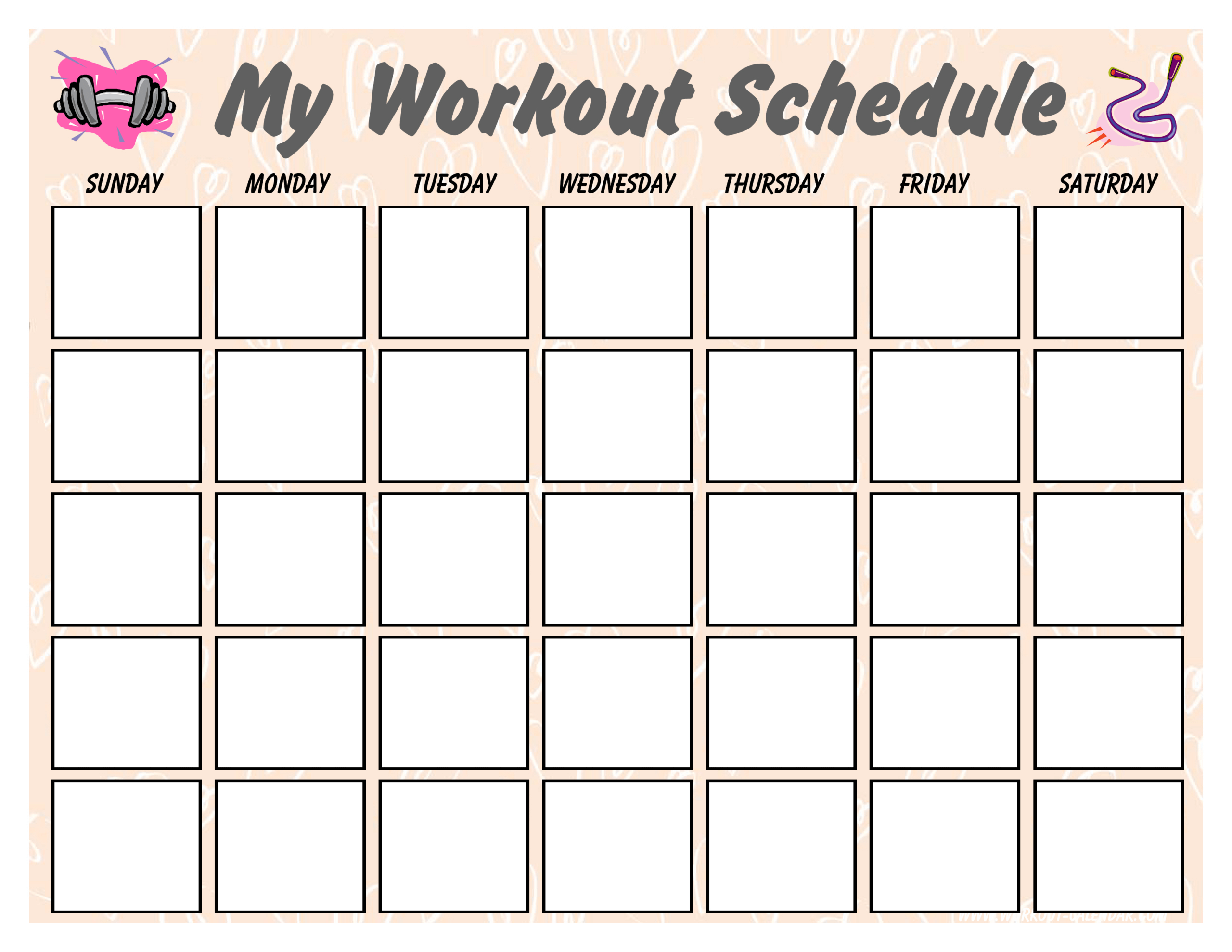 Blank Workout Schedule For Women | Templates At Regarding Blank Workout Schedule Template
