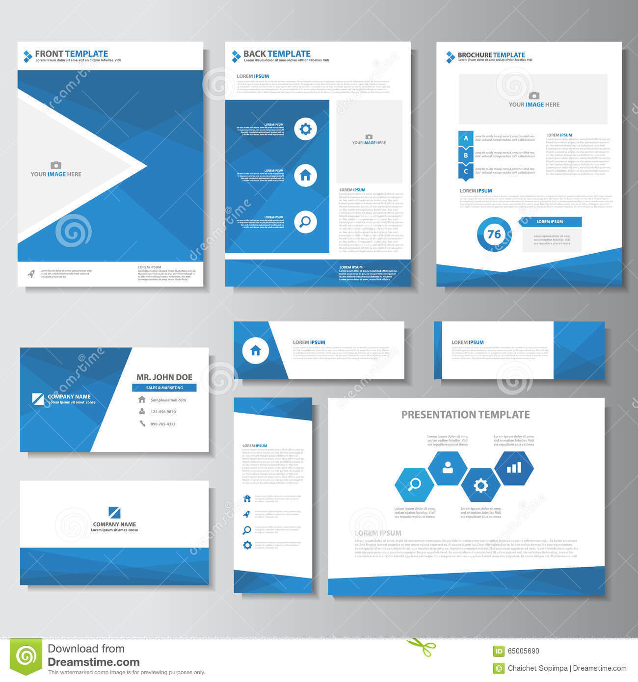 Blue Business Brochure Flyer Leaflet Presentation Card Within Advertising Card Template