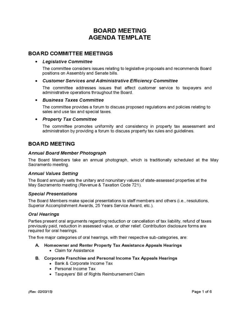Board Meeting Agenda Template – California Free Download With Board Of Directors Meeting Agenda Template