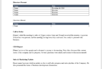 Board Meeting Minutes Template – Download From Cfi Marketplace with Ceo Report To Board Of Directors Template