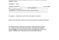 Book Report Examples 3Rd Grade 6Th 5Th Pdf College Sample for Book Report Template 3Rd Grade