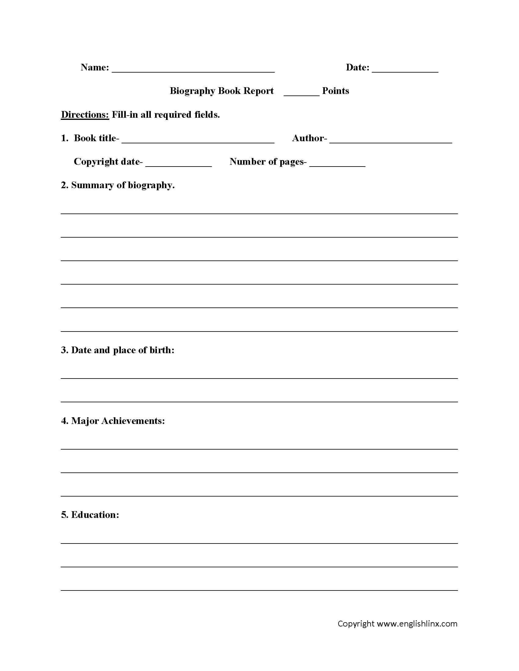 Book Report Worksheets | Biography Book Report Worksheets Throughout Biography Book Report Template