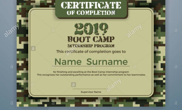 Boot Camp Internship Program Certificate Template Design with Boot Camp Certificate Template